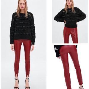 🆕Zara Red Faux Leather Skinny Leggings Pants